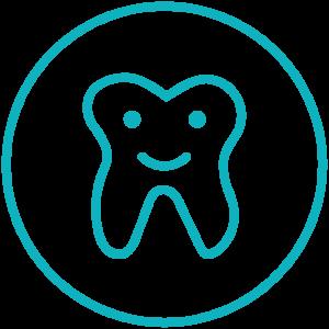 Kinderzahnarzt Logo zeigt einen stilisierten lächelnden Zahn