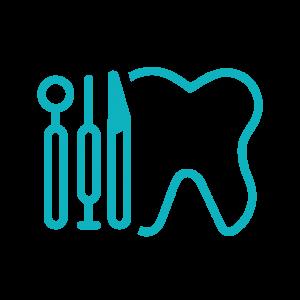 Stilisierter Zahn mit Besteck für Oralchirurgie