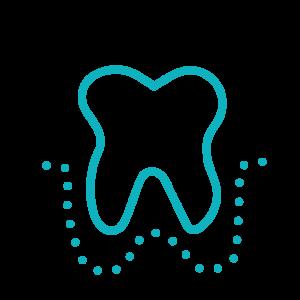 Parodontologie: Zahn mit Zahnfleisch stilisiert dargestellt