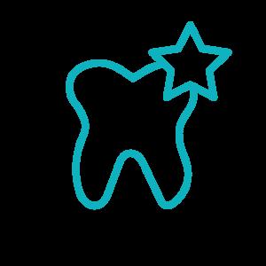 Stiliserter Zahn, der aufgrund von Bleaching glänzt