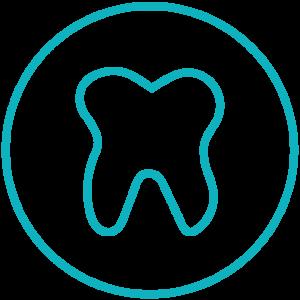 Formalisierte Darstellung der Zahnerhaltung: Zahn mit schützendem Kreis darum